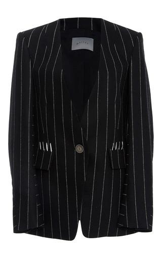 Medium maiyet stripe collarless blazer