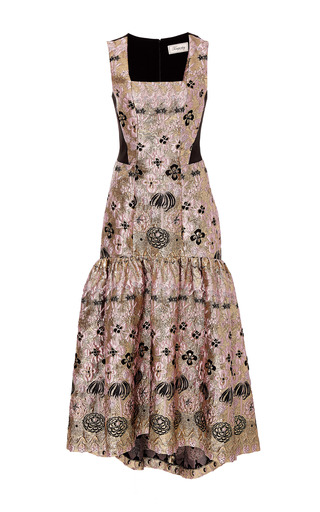 Medium temperley london metallic tower jacquard long dress