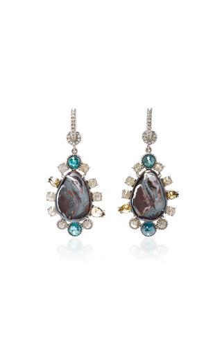 Medium nina runsdorf brown pear shape boulder opal earrings
