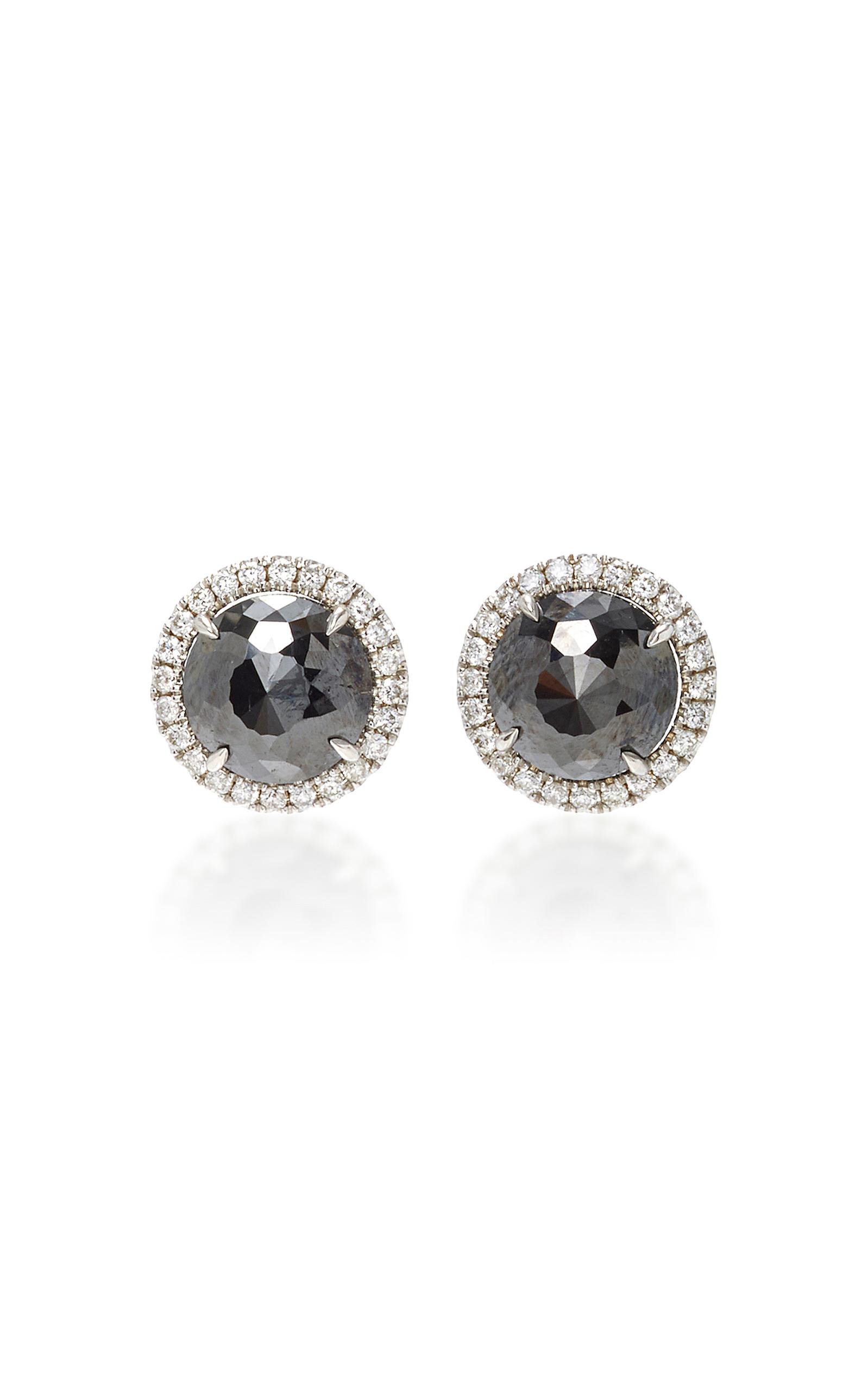 Round Rose Cut Black Diamond Stud Earrings by Nina