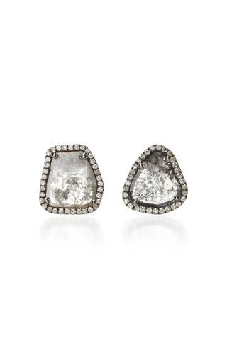 Medium nina runsdorf grey slice diamond stud earrings