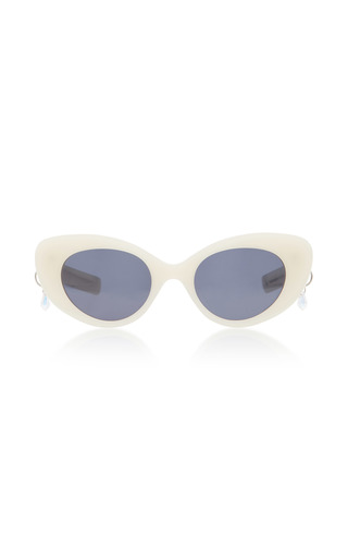 Medium pared eyewear white poms pared acetate cat eye sunglasses