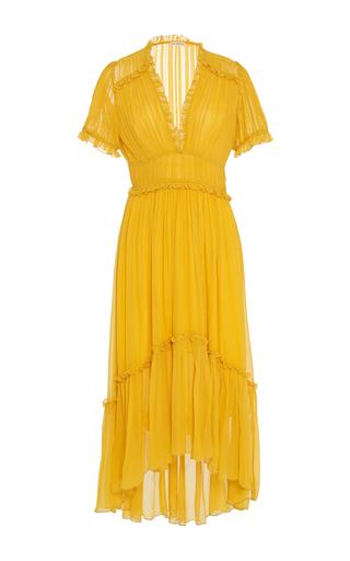 Medium ulla johnson yellow sonja tiered dress