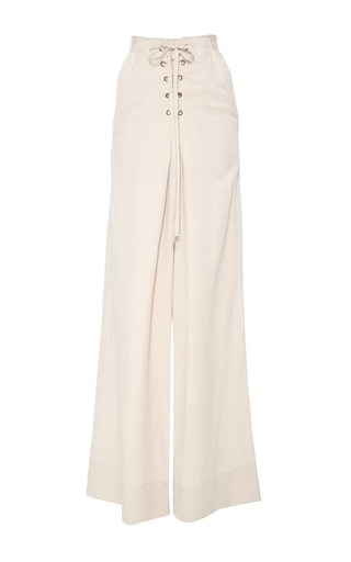 Medium ulla johnson grey rix high waist lace up trousers