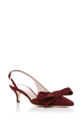 Medium aerin burgundy sling back pump with bow