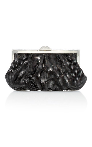 Medium judith leiber black natalie crystal embellished satin clutch