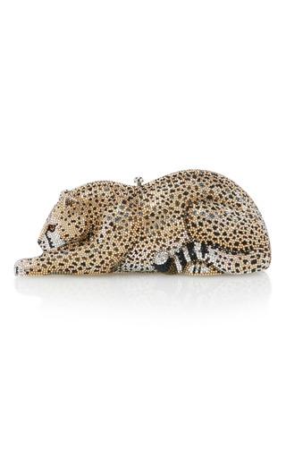 Medium judith leiber gold crystal wildcat clutch