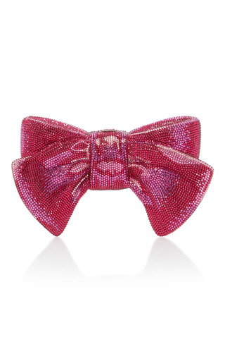 Medium judith leiber pink crystal bow clutch