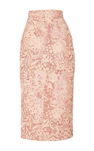 Medium j mendel pink guipure lace pencil skirt