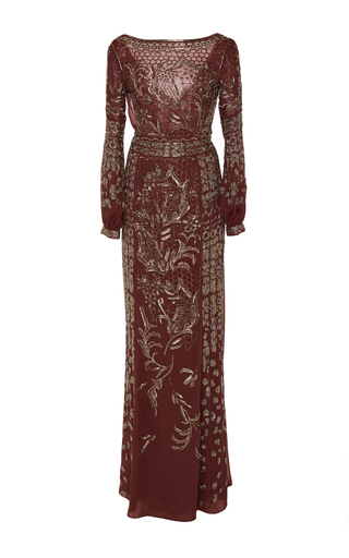 Medium j mendel pink embroidered chiffon draped gown