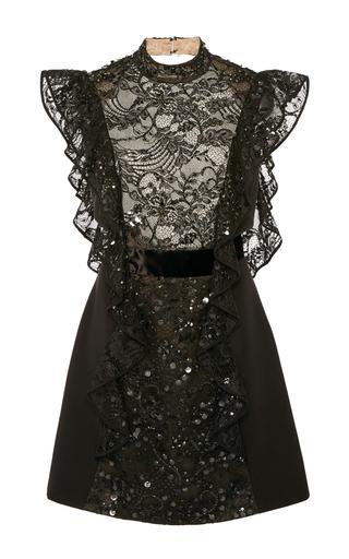 Medium j mendel black embroidered open back dress