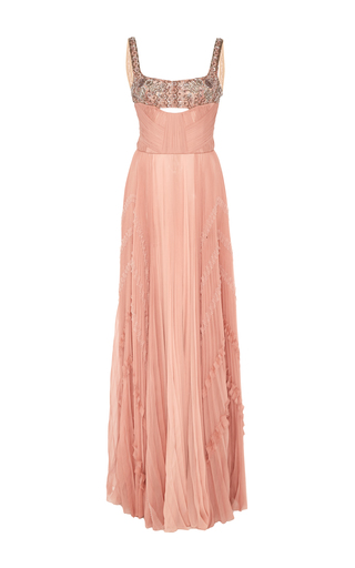 Medium j mendel pink embroidered bodice hand pleated gown