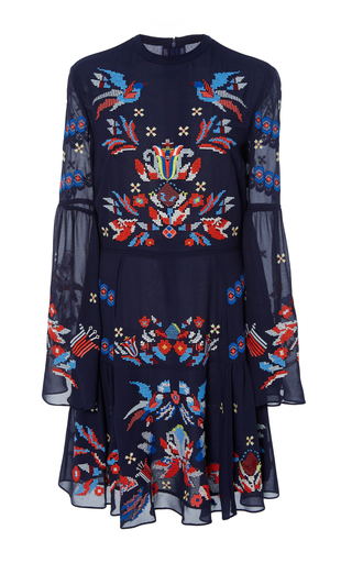 Medium tanya taylor navy cross stitch embroidered izzy dress