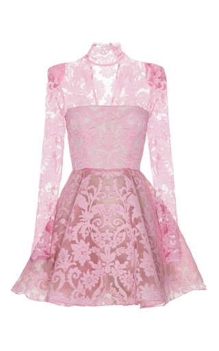 Medium alex perry pink orion lace long sleeve mini