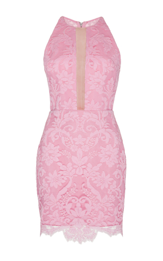 Medium alex perry pink rush lace fitted halter mini