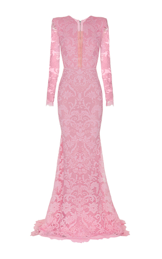 Medium alex perry pink darius lace sheer front long sleeve gown