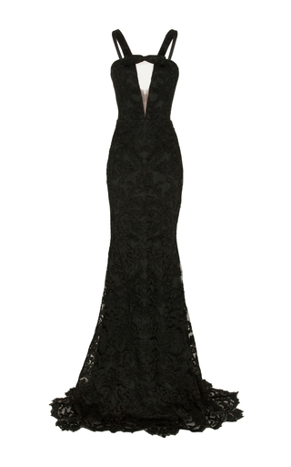 Medium alex perry green rowan lace sheer front strap gown
