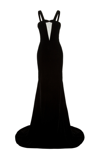 Medium alex perry black kane sheer front strap gown