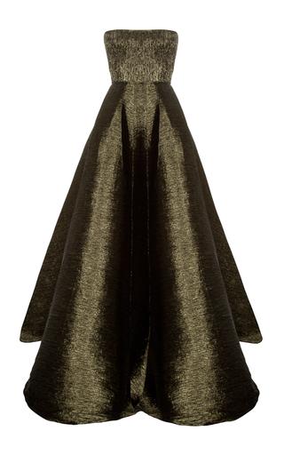 Medium alex perry green porter lurex strapless pleat gown