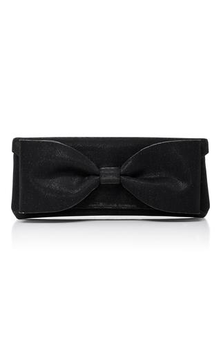 Medium oscar de la renta black bow embellished clutch