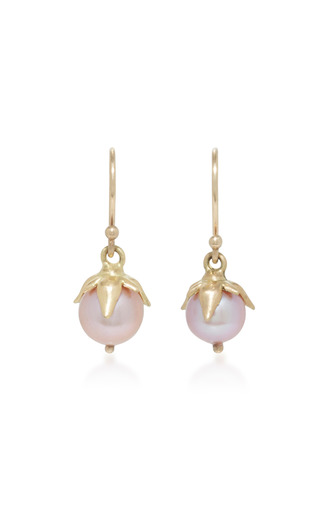 Medium annette ferdinandsen purple 18k gold lavender pearl earrings