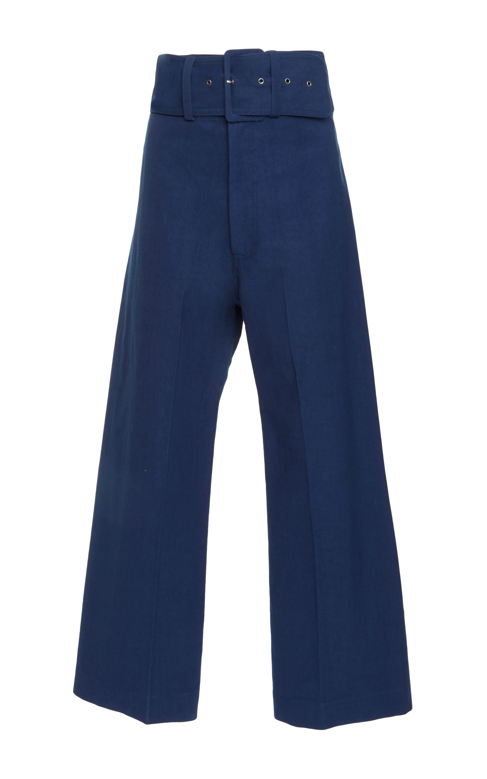 Sea Kamille High-rise Cropped Wide-leg Trousers In Blue