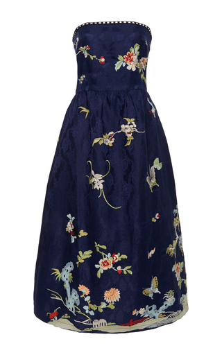 Medium sea blue strapless embroidered party dress