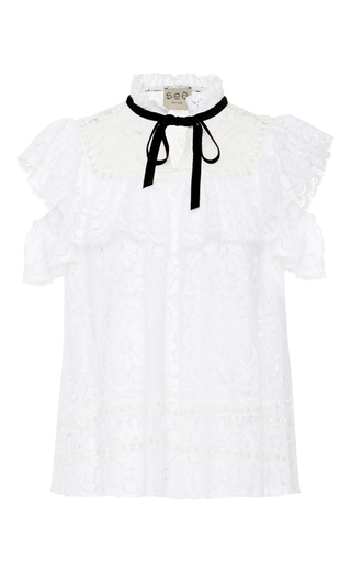 Medium sea white double ruffle lace top