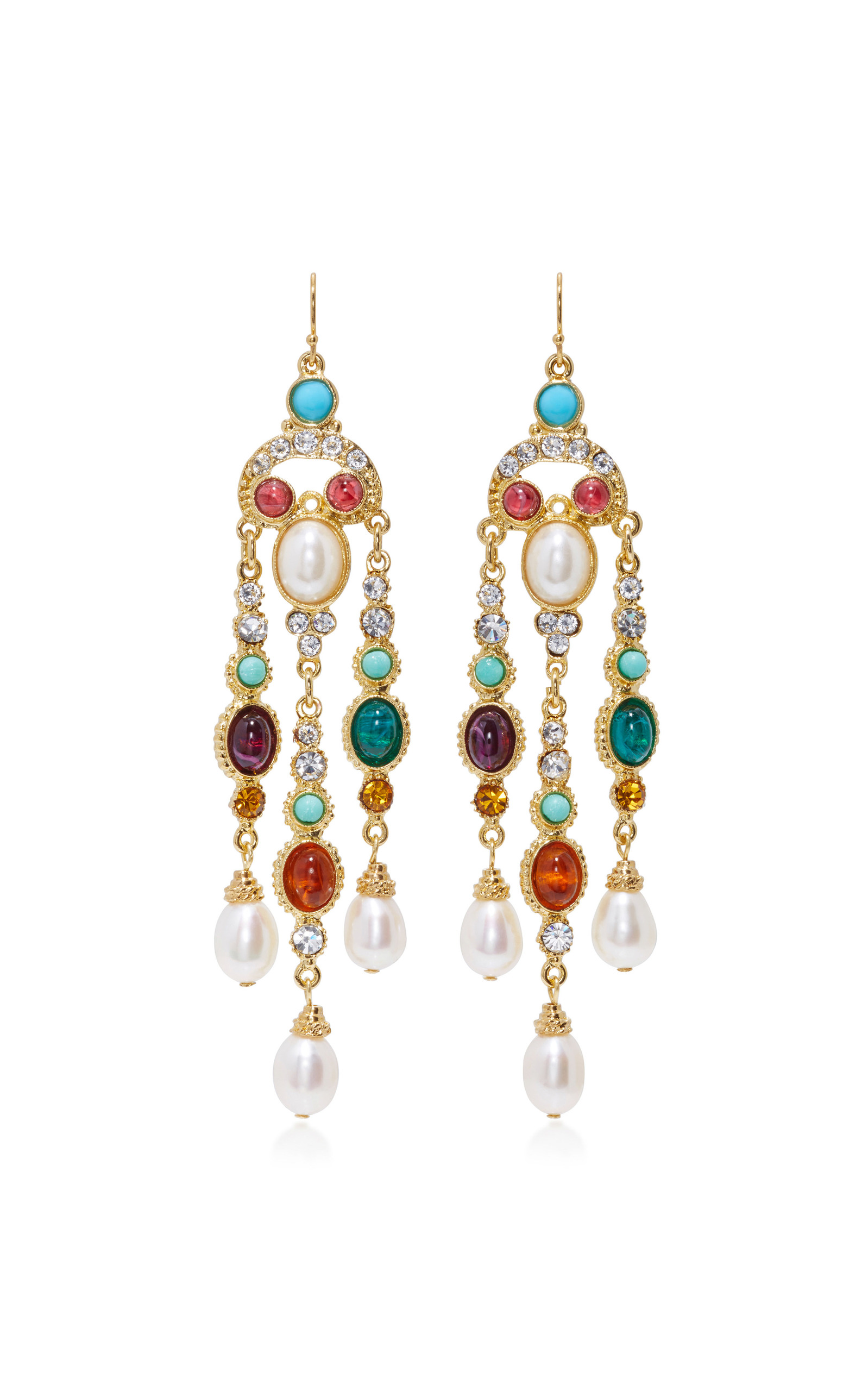 Ben Amun Byzantine Pearl Multi Stone Earrings