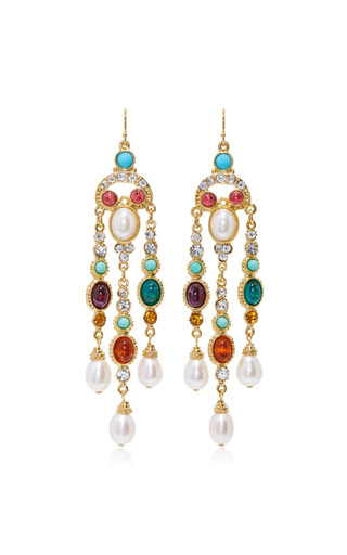 Medium ben amun multi byzantine pearl multi stone earrings