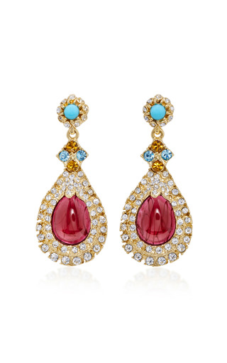Medium ben amun red byzantine pearl multi stone earrings 4