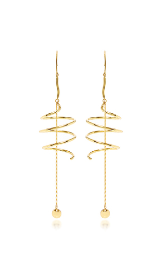 Medium ellery gold solitude spiral coil earrings with ball and chain