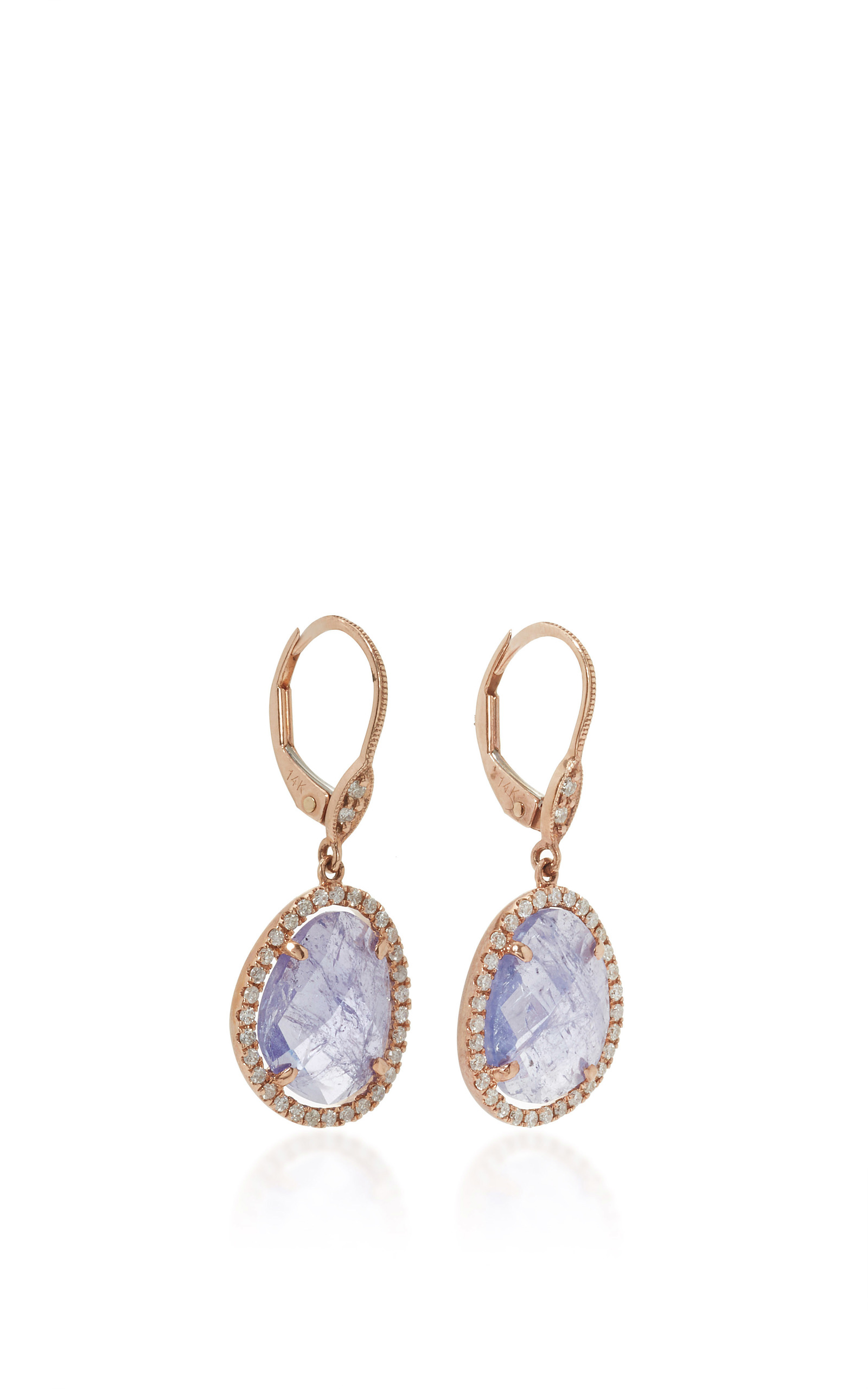 with white halo in diamond tanzanite gold earrings tw