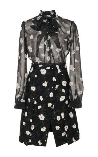 Medium carven floral floral tie neck mini dress