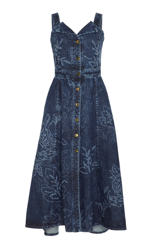 Medium peter pilotto navy printed denim dress