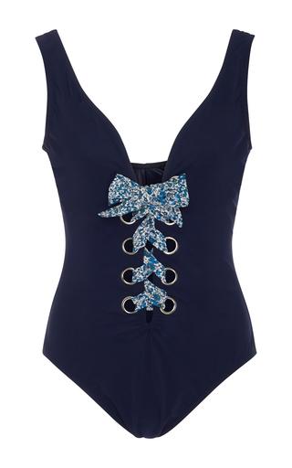 Medium karla colletto navy iris lace up one piece swimsuit