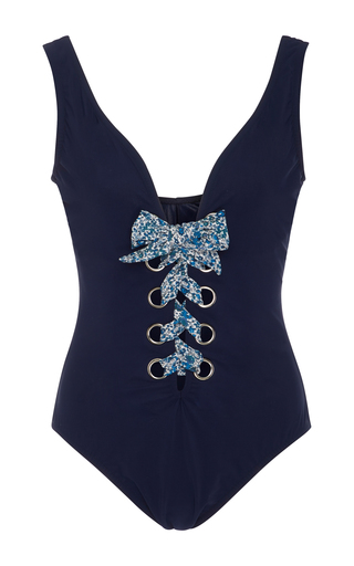 Medium karla colletto navy iris lace up one piece swimsuit