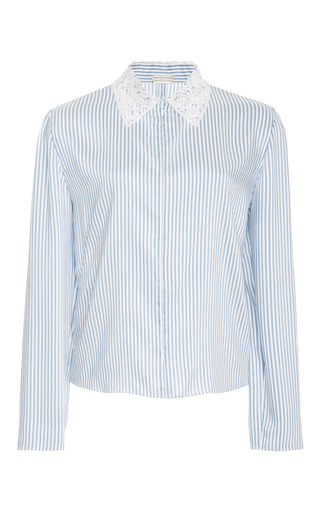 Medium alexis mabille blue long sleeve striped blouse