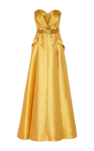 Medium alexis mabille yellow strapless belted gown