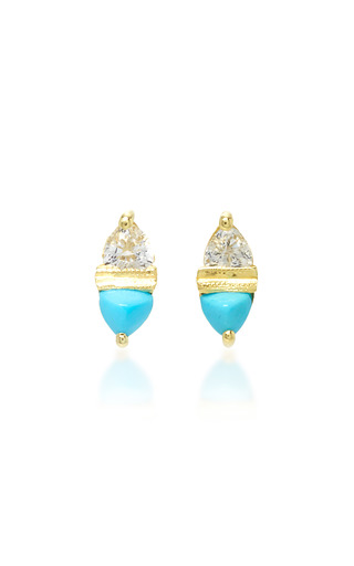 Medium ila collection blue 14k gold turquoise and sapphire stud earrings