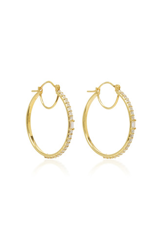 Medium ila collection gold maneva 14k gold diamond hoop earrings