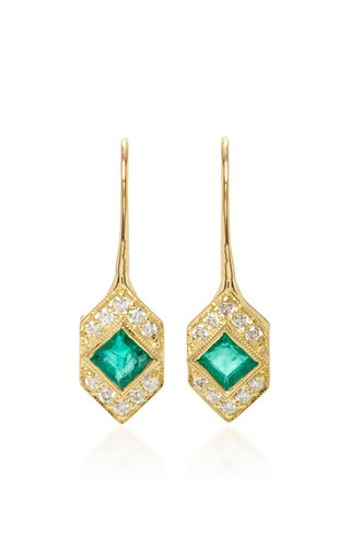 Medium ila collection green devon emerald and diamond earrings