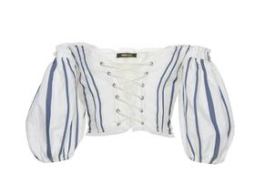Medium roberto cavalli stripe specialorder off the shoulder puff sleeve top kk