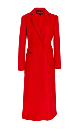 Medium giambattista valli red notch collar long coat