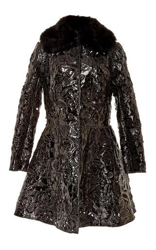 Medium giambattista valli black a line fur trim coat
