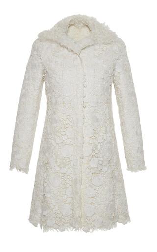 Medium giambattista valli white macrame lace kalgan coat