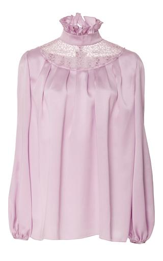 Medium giambattista valli purple long sleeve ruffle collar top