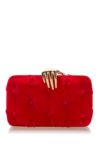 Medium benedetta bruzziches burgundy carmen velvet clutch with hand