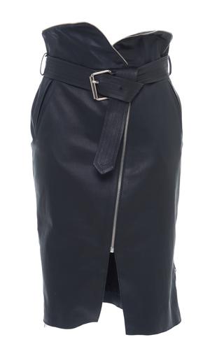 Medium francesco scognamiglio black leather high waisted column skirt