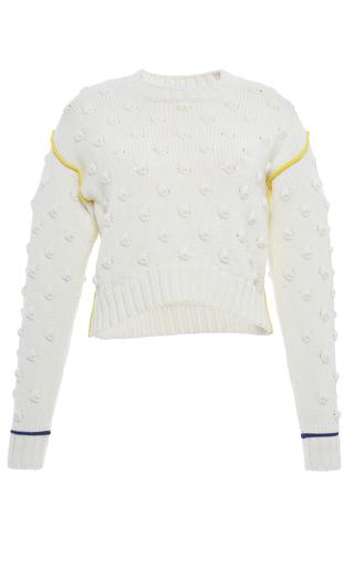 Medium francesco scognamiglio white long sleeve popcorn knit sweater